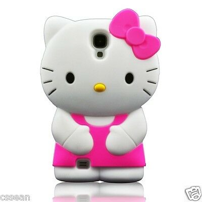 3D SOFT SILICONE HELLO KITTY I9500 GALAXY S4 CASE *PINK* GET IT FAST