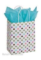 100 Paper Bags Polka Dot Green Pink Purple Cub Merchandise Shopping 8 X 5 X 10