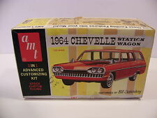 VINTAGE AMT 1964 CHEVELLE STATION WAGON 1/25 SCALE MODEL BOX BILL CUSHENBERY