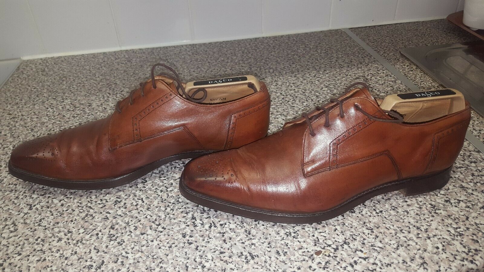 JOSEPH CHEANEY  BROWN LEATHER MEN'S LACE UP SHOES SIZE 7.5