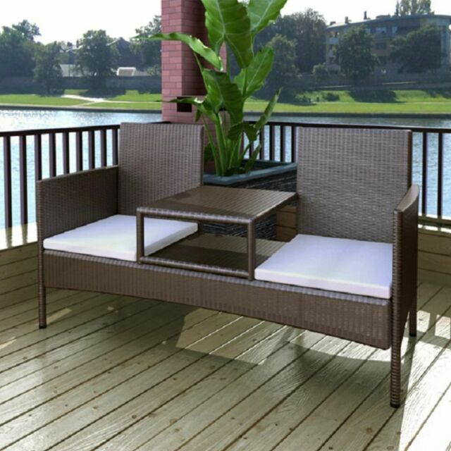 Cool Vidaxl Garden Bench 2 Seater With Tea Table Poly Rattan Brown Short Links Chair Design For Home Short Linksinfo