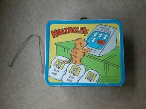Vintage-1982-Heathcliff-Lunch-Box-WITH-Bonus-Wire-Thermos-Holder-No-Thermos