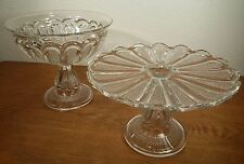 EAPG US Glass Texas Pattern Loop Stippled Panel Pedestal Cake Stand & Compote