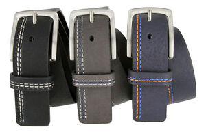 Triple-Stitched-Design-Genuine-Leather-Casual-Jean-Belt-Black-Navy-or-Gray