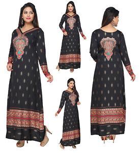 UK-STOCK-Women-Printed-Bollywood-Kurti-Tunic-Kaftan-Top-Shirt-Dress-KFT106A