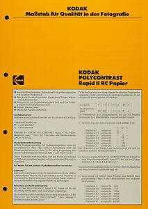 Kodak Polycontrast RapidI I RC Ppaier - Kodak Datenblatt P-E4 - Deutschland - Kodak Polycontrast RapidI I RC Ppaier - Kodak Datenblatt P-E4 - Deutschland