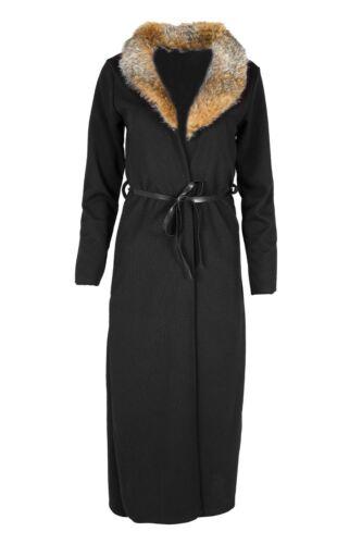 Para mujeres Damas Mangas Largas Cuello Abierto Top Cardigan cabo Cinturón de Lazo Plumero Abrigo