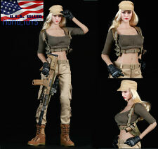 "1/6 Tactical Military Combat Suit Set 12"" For Hot Toys Phicen Female Figure USA"