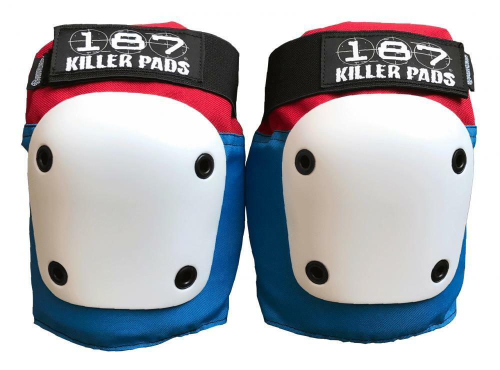 187 Killer Pads Fly Knee Pads, Red White bluee