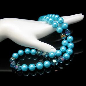 Blue-Glass-Large-Faux-Pearl-Beads-AB-Crystals-Vintage-Necklace-Very-Pretty