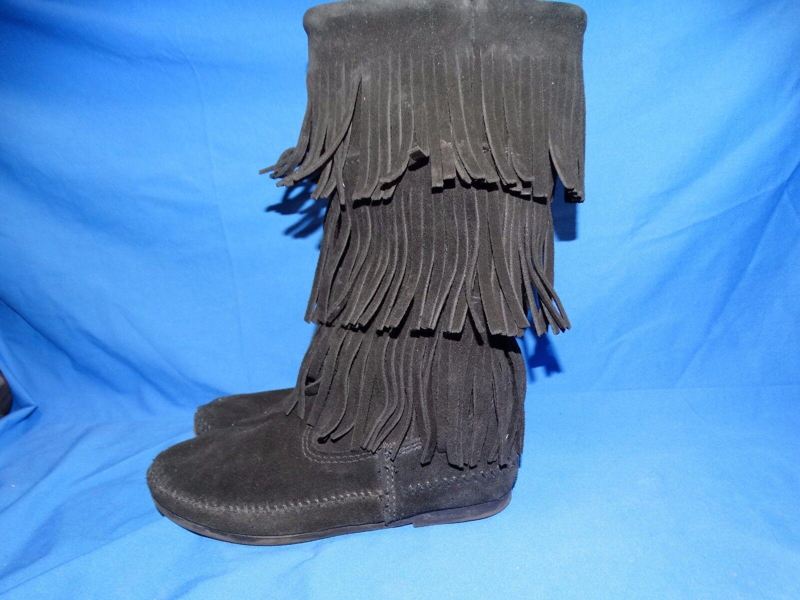 20209 Mujer botas con flecos Mocasín De Gamuza Negra Negra Negra Minnetonka  Zapato De Damas Talla 6  mejor servicio