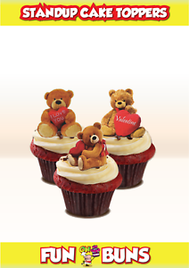 St-Valentin peluche Teddy Mix comestibles Standup gâteau Toppers Mignon Amour