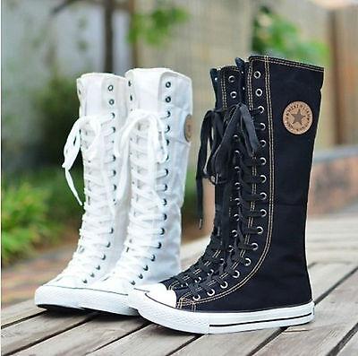 Punk EMO Women Girl Shoes Sneaker Lace Up Zip Boot Knee High Flat Tall Boot