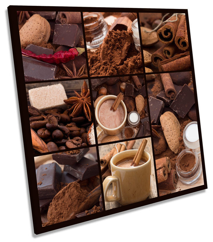 Coffee Cinnamon Kitchen Collage SQUARE CANVAS WALL ART Boxed Framed