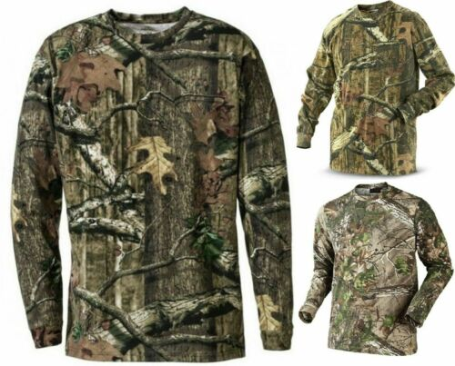 Mens Camouflage Camo Long Sleeve T Shirt Hunter Real Tree Jungle Forest Print XL