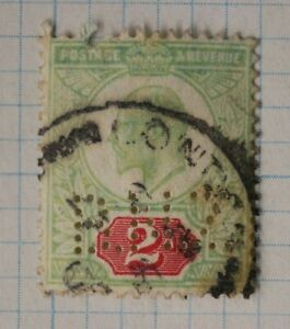 GB-sc-130-used-postage-stamp-sg-225-perfin-BNZ-Bank-New-Zealand