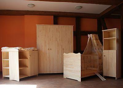 Babyzimmer Kinder Möbel KOMPLETT Matratze Bettwäsche 5 Farben MASSIV Gravur