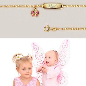 Baby Taufe Name Datum Gravur Armband Echt Gold 585 Schutz Engel Anhänger 16 cm
