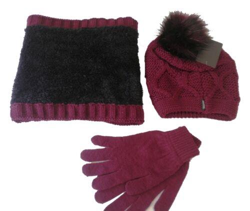 Damen Mützenset 3teilig//Set Mütze Schal Rundschal Handschuhe Strickmützen Bommel
