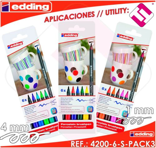 Pack 3 Boxes 6 FeltTip Pens Edding 42006SP3 Ceramic Permanent Professional
