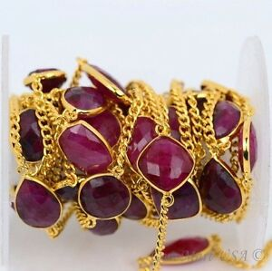 1 Foot Gold Plated Natural Ruby 10-15 mm Gemstone Bezel Connector Necklace Chain