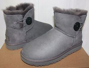 cbf82f7f363 UGG Women s Mini Bailey Button II 2 Grey Suede boots New With Box ...