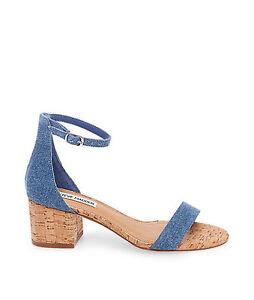 8bb1199f4bb3 Steve Madden Women s Irenee C Denim Cork Ankle Strap Dress Sandal ...