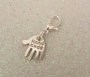 1-x-Handmade-Hand-Silver-Plated-Clip-On-Charm-Gift-Tag-Bracelet-Bag-Zip-Make