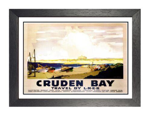 Cruden Bay Railway Vintage Old Advert Poster Scotland Sea Beach Boat Photo