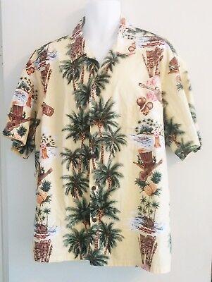 HILO HATTIE Hawaiian Shirt Tiki Hula Girl Palm Trees Yellow - Men's 3XL (XXXL)