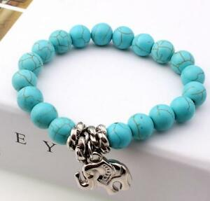 51f1a5b4d Image is loading turquoise-elephant-beads -bracelets-Lucky-pendant-catenary-chain-