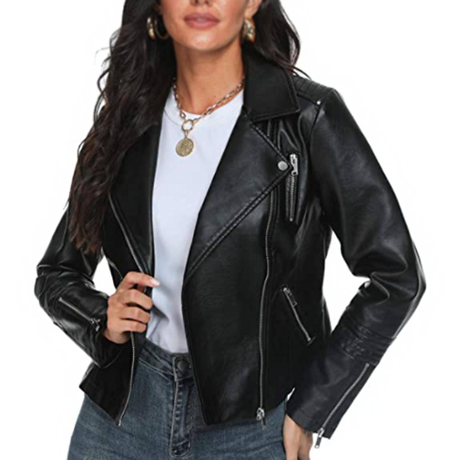 New Women's Motorcycle Moto Biker Vegan Real Leather Fashionable Classic Jacket