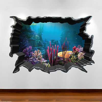 Tropical Fish Aquarium 3D Full Colour Wall Art Sticker Decal Boys Girls Bedroom