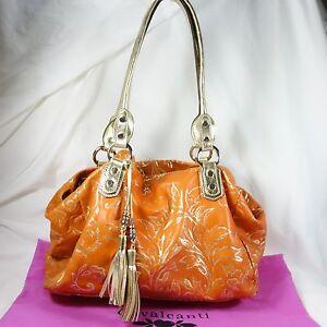 Image Is Loading Cavalcanti Painted Embossed Orange Leather Handbag Pale Gold