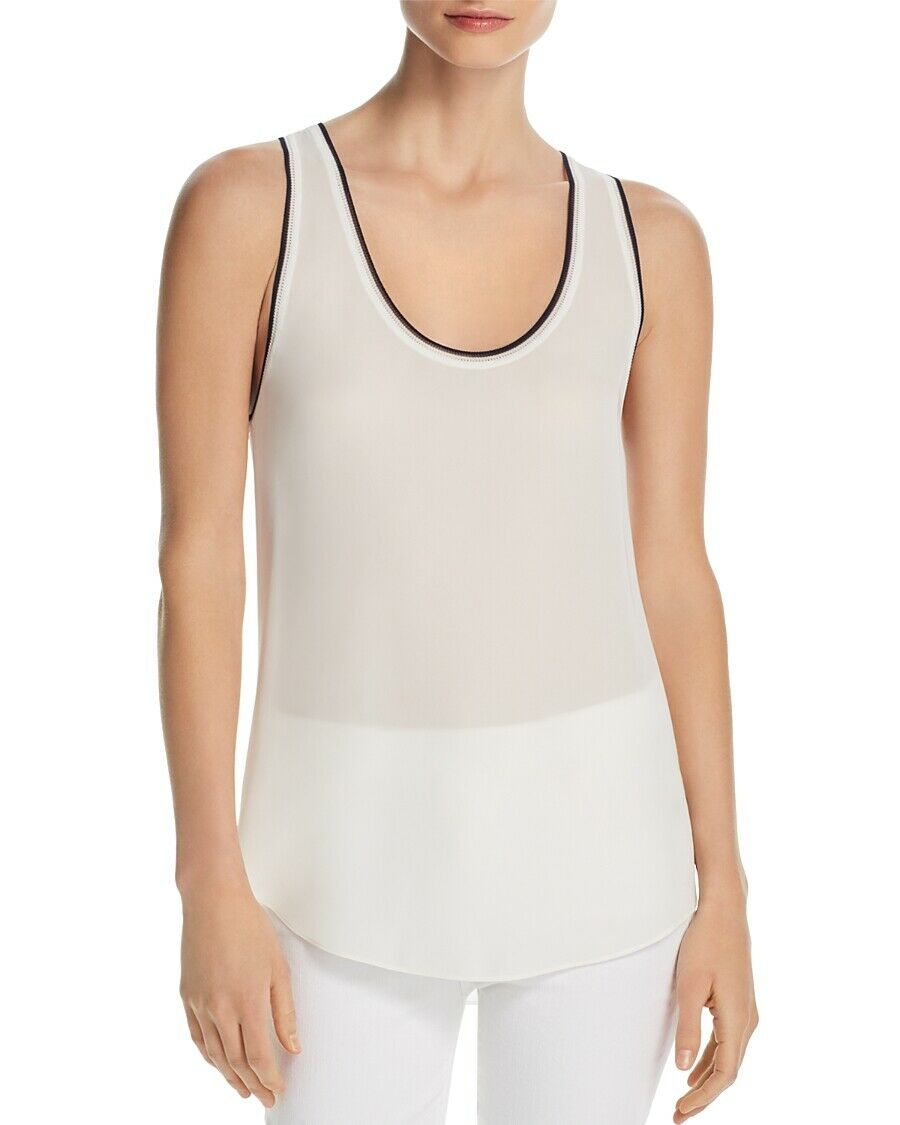 THEORY Woherren IVORY TIPPED SILK SHELL TANK TOP SLEEVELESS BLOUSE Größe L