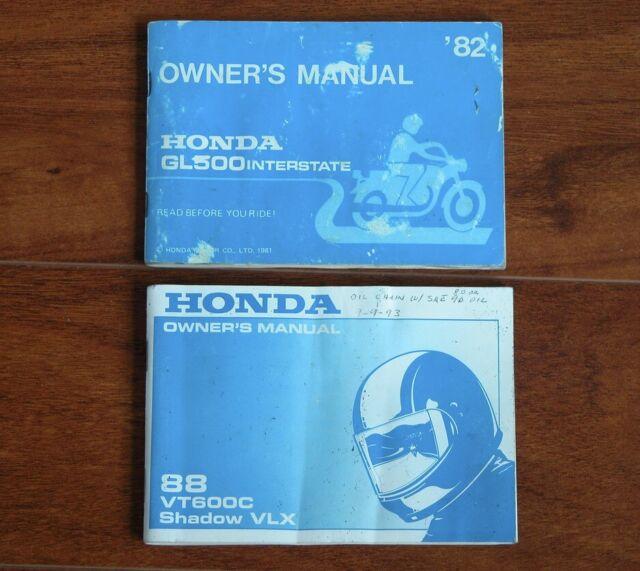 Honda Owner U0026 39 S Manual 1988 Vt600c Shadow Vlx   1982 Gl500 Interstate
