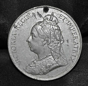 1897-Queen-Victoria-Diamond-Jubilee-Medal-WM-39-mm-Holed