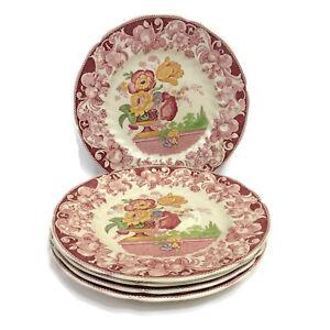 Royal-Doulton-Pomeroy-Red-Set-of-5-Dinner-Plates-10-5-8-034-Vintage