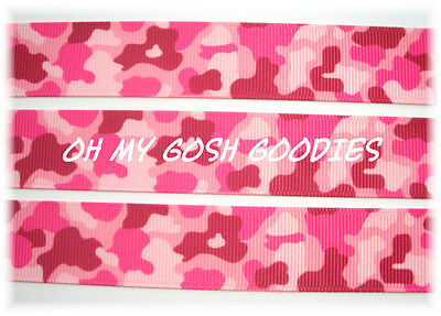 7/8 PINK GIRLY CAMO CAMOFLAUGE MILITARY GROSGRAIN RIBBON HUNTER 4 HAIRBOW BOW
