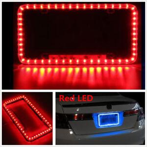 red Universal 12v 54 LED Red Color Light Acrylic License Plate Frame