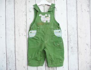 ** Fab Baby Boy Green Dog Themed Dungarees-mini Mode (3 - 6 Mois) **-afficher Le Titre D'origine