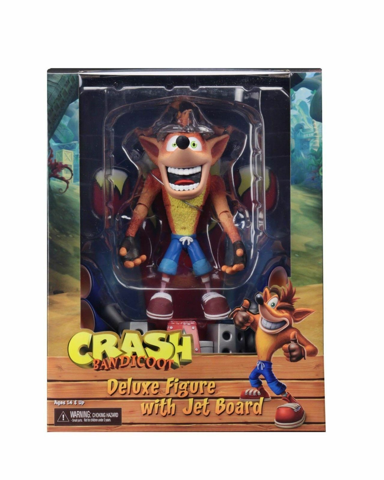 NECA-Crash Bandicoot con skateboard Deluxe Action Figure-Nuovo di Zecca
