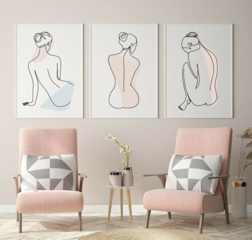 Set of 3 Woman Line Art Drawing Prints Perfect for minimalist decor