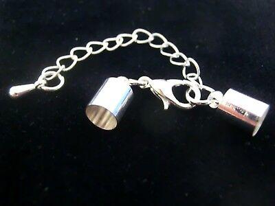 5 KARABINER VERSCHLÜSSE mit Hülse Endkappe für Lederband Bänder bis 5,5mm  #S390