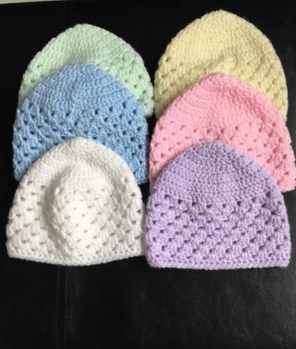 Hand Crochet Granny Stitch New Born Baby Hat Beanie