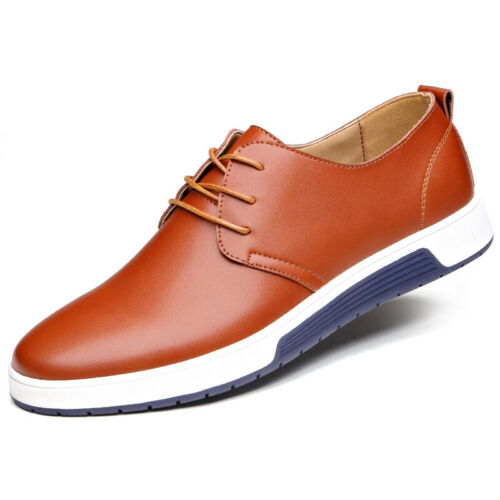 British Men Casual Genuine Leather Shoes Lace-up Sneakers Oxford Breathable New