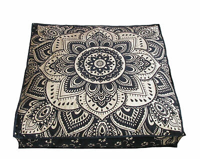 Square Floor cushion Cover Wonderful Peacock Mandala Design Cotton Fabric Indian