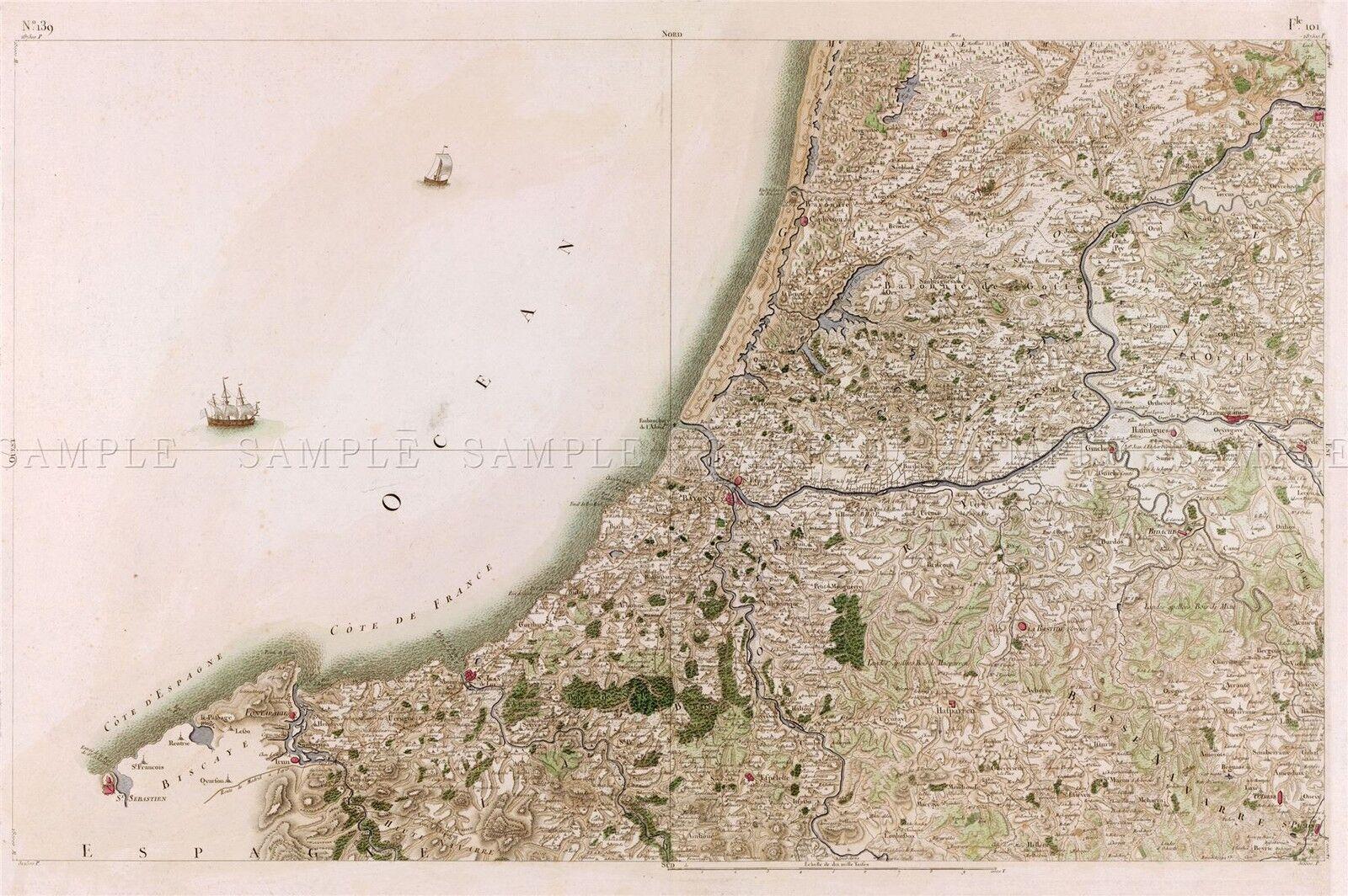 MAP CASSINI FRANCE 18TH CENTURY PERPIGNAN ROUSSILLON REPRO POSTER PRINT PAM0803