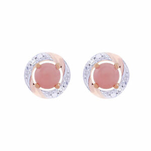 Image Is Loading 9ct Rose Gold Pink Opal Stud Earrings Amp