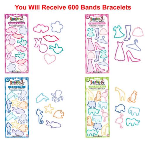 600x Bandit-Os Kids Stretch Shape Bands Assorted Rubber Band Bracelets
